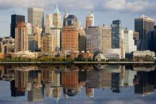 Wandbilder New York Wandbilder  Skyline von New York Manhattan am Hudson River