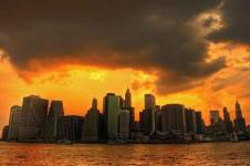 Wandbilder New York Wandbilder  Skyline von Manhattan New York im Sonnenuntergang