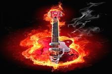 Wandbilder Retro und Lounge Wandbilder  Burning Guitar