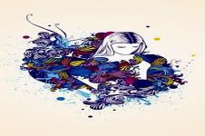 Leinwandbilder Retro und Lounge Wandbilder  Floral Beauty Zeichnung Moderne Kunst