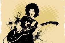 Wandbilder Retro und Lounge Wandbilder  Guitarist at Work Music Art