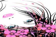 Wandbilder Blumen Wandbilder  Flower Lady und Blumen mit pinken Blüten
