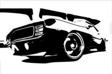 Wandbilder Retro und Lounge Wandbilder  Vintage Muscle Car
