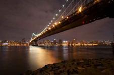 Wandbilder New York Wandbilder  Nachtaufnahme der Brooklyn Bridge von New York
