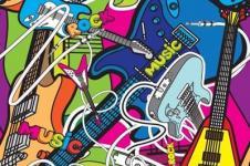 Wandbilder Retro und Lounge Wandbilder  Urbane Kunst Music City