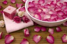 Leinwandbilder Blumen Wandbilder  Rosenblätter im Wellnessbad