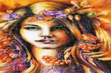 Kunstdrucke Leinwand Wandbilder  Kunstdruck Malerei Blumenmädchen auf Leinwand gedruckt