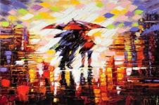 Kunstdrucke Leinwand Wandbilder  Kunstdruck Ölmalerei Spaziergang im Regen auf Leinwand gedruckt