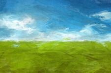 Kunstdrucke Leinwand Wandbilder  Kunstdruck Malerei Wiese unter blauem Himmel Ölmalerei auf Leinwand