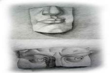 Kunstdrucke Leinwand Wandbilder  Abstrakte Zeichnung Mund und Nase