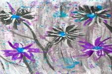 Kunstdrucke Leinwand Wandbilder  Kunstdruck Aquarell Malerei Blumen Abstrakt auf Leinwand