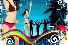 Wandbilder Retro und Lounge Wandbilder  Dancing at the Beach Urban Art