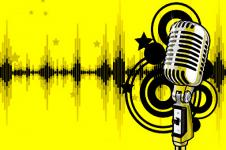 Wandbilder Retro und Lounge Wandbilder  Digital Music Art Microphone Test