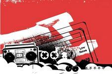 Leinwandbilder Retro und Lounge Wandbilder  Grunge Art Boombox Urban