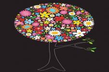 Wandbilder Blumen Wandbilder  Illustration Baum aus bunten Frühlingsblumen