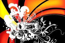 Wandbilder Retro und Lounge Wandbilder  Abstract Ghetto Blaster Retro Style