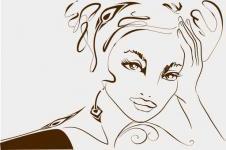 Kunstdrucke Leinwand Wandbilder  Zeichnung Fashion Girl