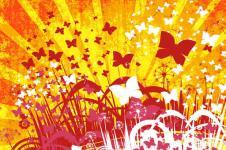 Kunstdrucke Leinwand Wandbilder  Flower background with butterfly